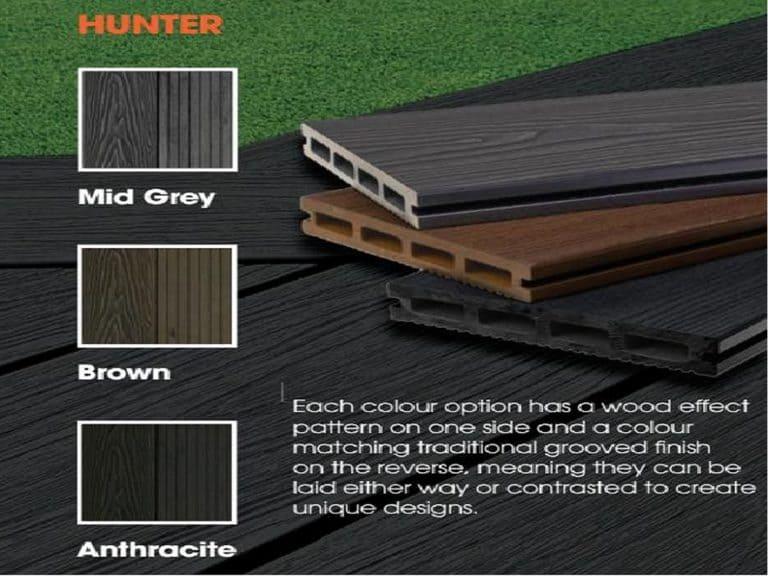 Piranha Hunter Composite Decking Boards Mid Grey